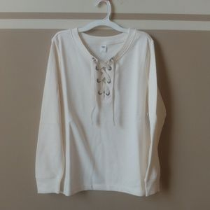 New relaxed lace-up French terry sweatshirt